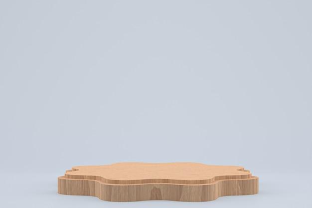 Podium en bois rendu 3d minimal ou support de produit pour la présentation de produits cosmétiques
