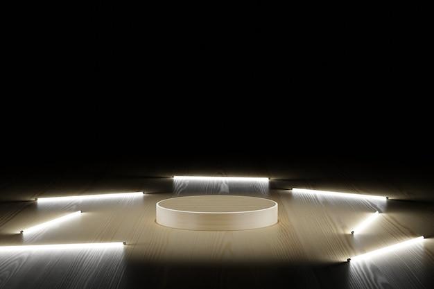 Podium en bois avec tube néon sur fond sombre illustration 3d rendant moderne simple minimal