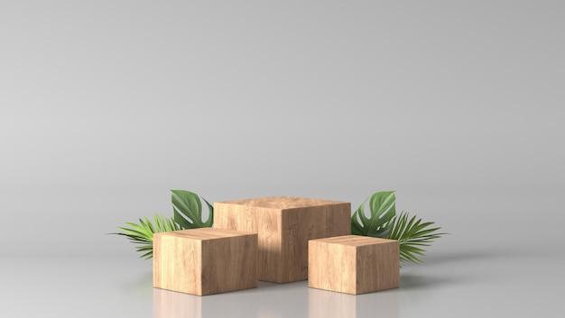 Podium de boîte en bois fin brun luxe minimal et feuilles vertes sur fond blanc