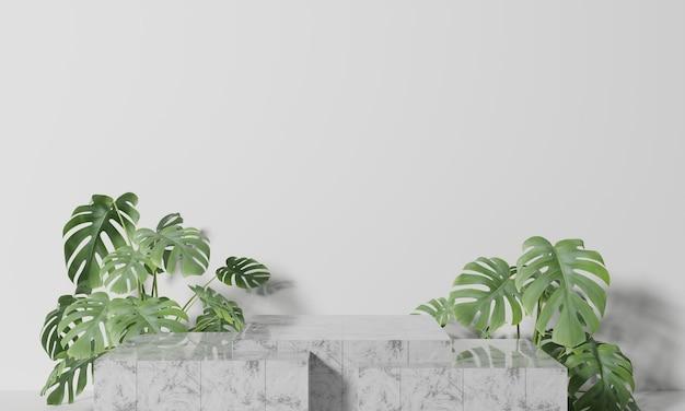 Podium de boîte en marbre blanc avec des feuilles en rendu 3d de fond blanc