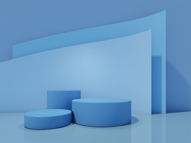 Podium de bouteille cosmétique avec sur bleu