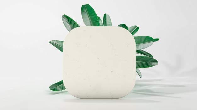 Podium à cadre carré arrondi avec feuilles qui tombent. illustration 3d. vue de face. carré de marbre isolé sur fond. scène minimale abstraite