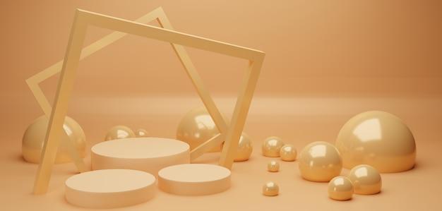 Podium et cadre carré avec perles abstraites brillantes
