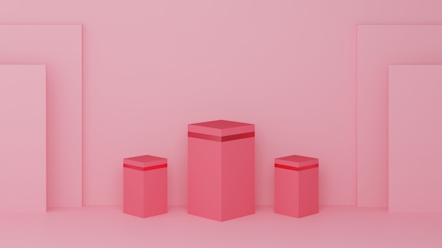 Podium carré de couleur rose pastel et bord rose à trois rangs
