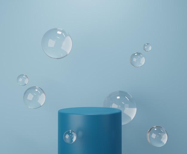 Podium de cercle bleu avec goutte d'eau pour l'affichage du produit