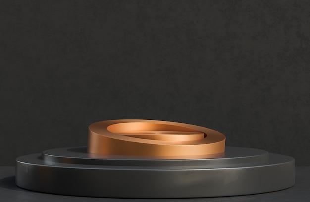 Podium de cercle de cuivre pour la présentation du produit sur le style de luxe de fond de mur en béton noir.,modèle 3d et illustration.