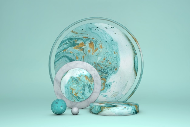 Podium de cercle de marbre de luxe 3d, couleur verte de piédestal de cylindre avec de l'or sur fond pastel. vitrine de scène de concept pour vente de promotion, présentation, cosmétique.