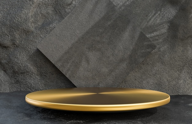Podium de cercle d'or pour la présentation du produit sur le style de luxe de fond de mur de pierre.,modèle 3d et illustration.