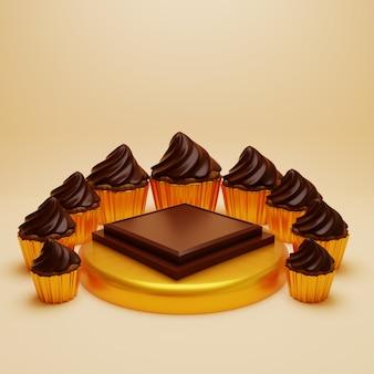 Podium chocholate doré entouré de cupcakes royaux chocholate, socle de rendu 3d.