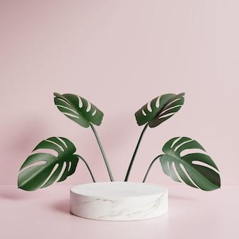 Podium circulaire avec des feuilles vertes derrière et un mur rose