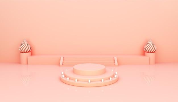 Podium circulaire avec fond rose pour la présentation du produit