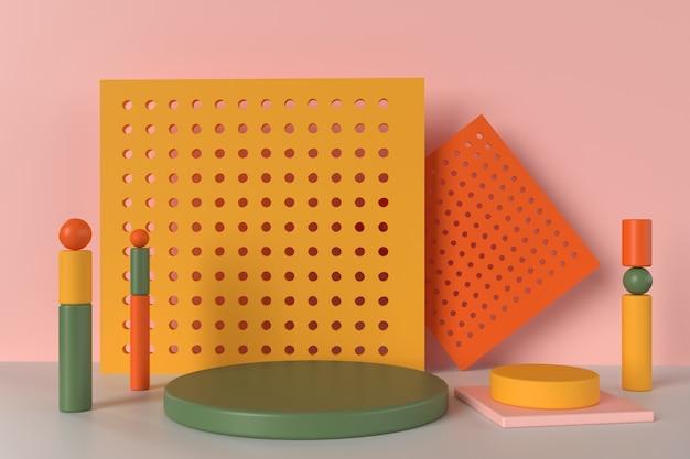 Podium coloré de rendu 3d avec des formes géométriques assorties
