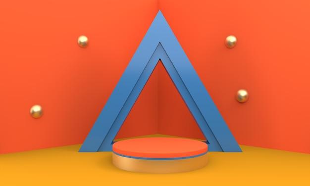 Podium en composition bleue abstraite