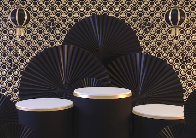 Podium de conception abstraite noire moderne montrent le produit cosmétique géométrique. rendu 3d