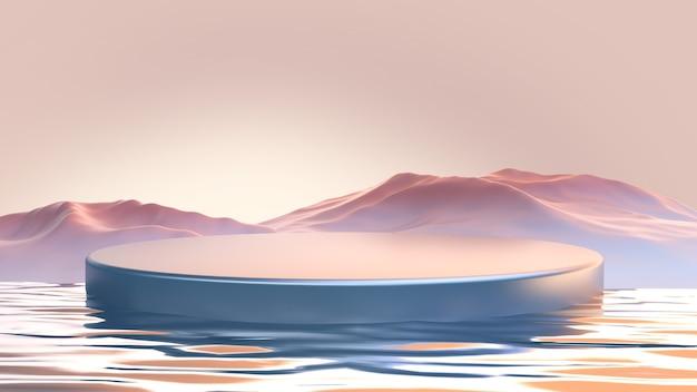 Podium avec la conception de produits de montagnes illustration de rendu 3d