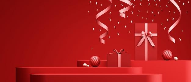 Podium de conception de saint valentin et fond rouge décoratif pour le rendu 3d de présentation de produit