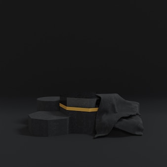 Podium de conception de support noir abstrait. rendu 3d.