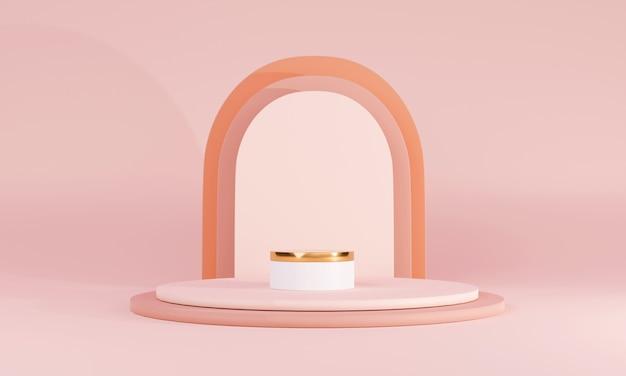 Podium de corail abstrait rendu 3d avec arche sur fond corail pour produits cosmétiques