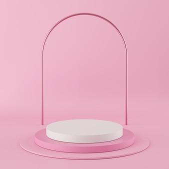 Podium de couleur rose de forme géométrique abstraite avec la couleur blanche sur fond rose pour le produit.