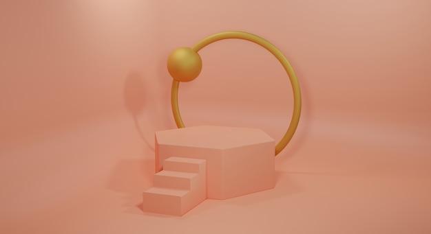 Podium crème et or sur fond crème rendu 3d. podium vide pour le rendu 3d du produit