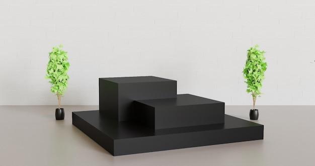 Podium cubique noir pour produit vitrine entre deux plantes de décoration