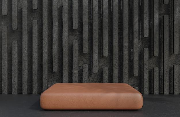 Podium en cuir marron pour la présentation du produit sur le style de luxe de fond de mur de pierre.,modèle 3d et illustration.