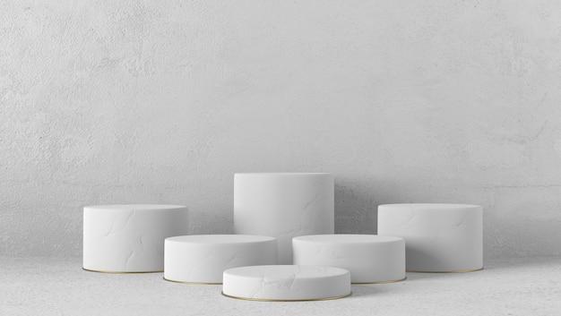 Podium de cylindre blanc minimal en arrière-plan