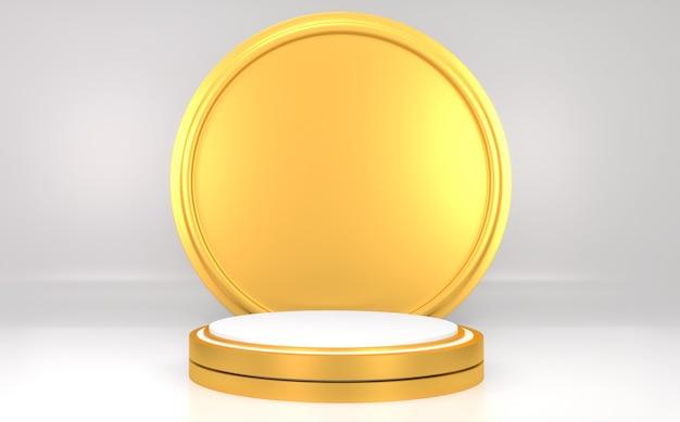 Podium cylindre blanc et or sur fond gris