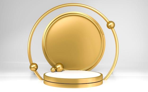Podium cylindre blanc et or avec sphères sur fond gris