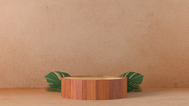 Podium de cylindre en bois fin brun luxe minimal en arrière-plan