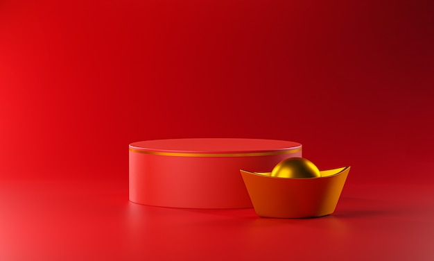 Podium de cylindre et lingot d'or chinois. rendu 3d