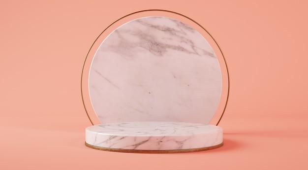 Podium cylindre en marbre blanc en fond rose rendu 3d