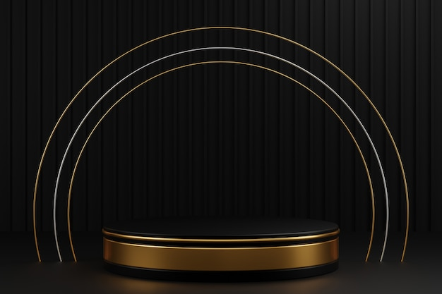 Podium cylindre en or noir et bague en argent or sur fond de rayures gris foncé.