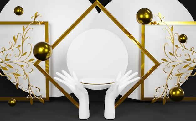 Podium de cylindre de rendu 3d avec fond de modèle vierge main blanche. prime d'or