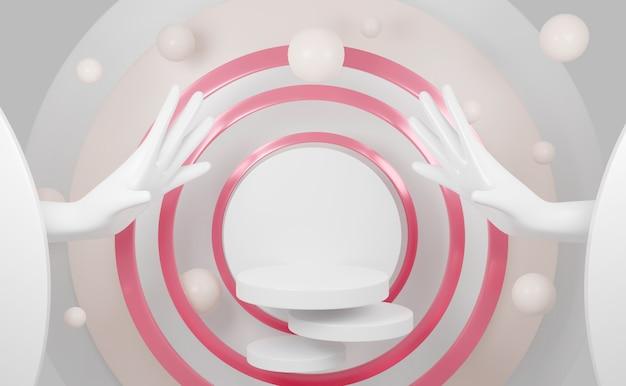 Podium de cylindre de rendu 3d avec fond de modèle vierge main blanche.