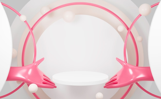 Podium de cylindre de rendu 3d sur fond de modèle vierge main rose.