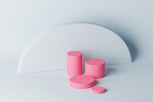 Podium cylindre rose ou socle pour produits ou publicité sur fond bleu clair. rendu 3d.