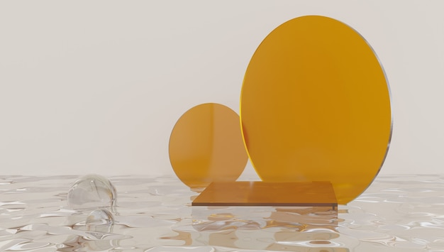 Podium de cylindre de verre, présentoir de produit sur la couleur orange
