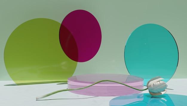 Podium de cylindre de verre, présentoir de produit de couleur vert, bleu et rose.
