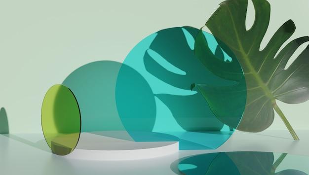 Podium de cylindre de verre, présentoir de produit sur fond vert de couleur