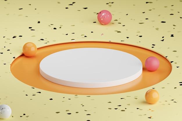 Podium cylindrique beige ou support pour produits aux sphères colorées. rendu 3d dans un style minimal.