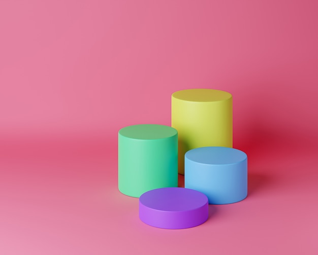 Podium cylindrique coloré ou piédestal pour produits. rendu 3d dans un style minimal.