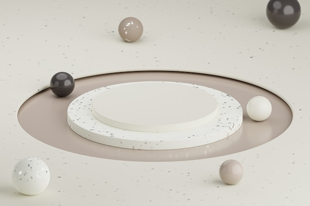 Podium cylindrique de couleur neutre ou support pour produits aux sphères colorées. rendu 3d dans un style minimal.
