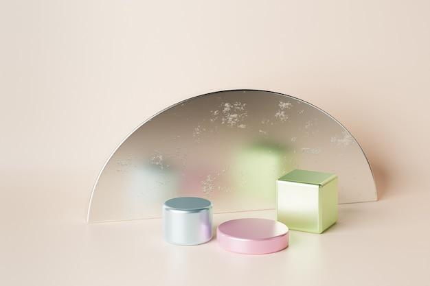 Podium cylindrique et cube coloré ou piédestal pour produits ou publicité sur fond beige. rendu 3d.