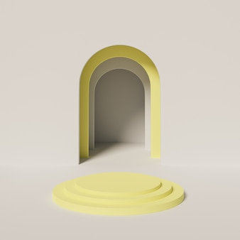 Podium cylindrique jaune ou piédestal pour produits ou publicité à proximité d'une entrée vide grise. rendu 3d minimal.