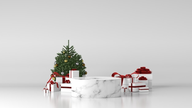 Podium cylindrique en marbre blanc avec décorations de noël