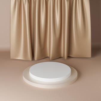 Podium cylindrique ou piédestal beige pour les produits ou la publicité à proximité des rideaux. rendu 3d.