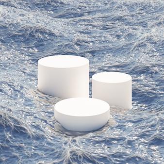 Podium cylindrique ou piédestal pour produits ou publicité dans l'océan avec des vagues. rendu 3d.