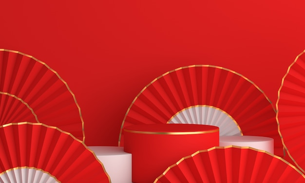 Podium avec décoration pour le nouvel an chinois