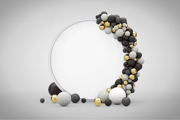 Podium d'écran de cercle de présentation abstraite avec des boules et un espace libre pour votre conception sur un fond blanc. rendu 3d